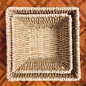 Nesting Square 2 Piece Wicker Basket Set